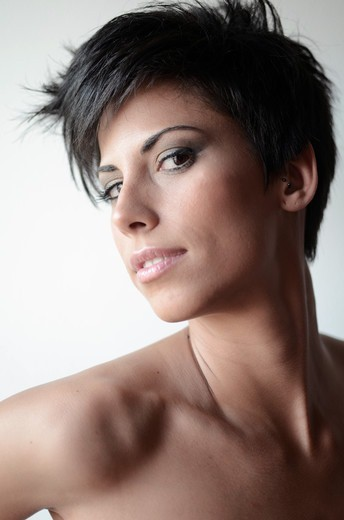 Attractive short haired woman : Stock Photo