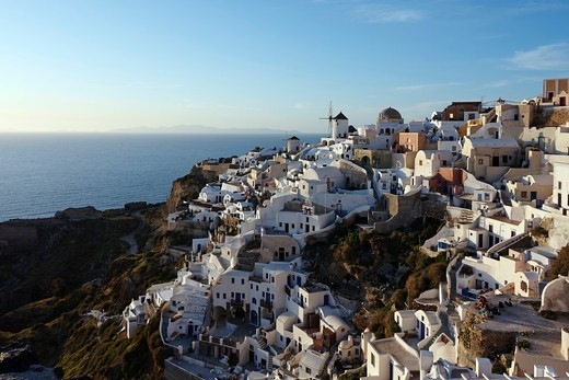 Greece, Santorini, Oia, View from Oia Fortress : Stock Photo