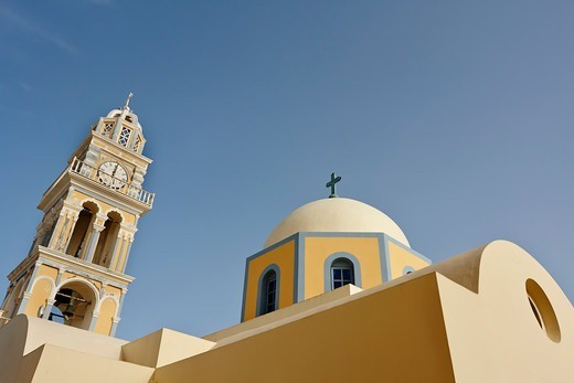 Catholic Cathedral in Fira, Santorini, Greece : Stock Photo