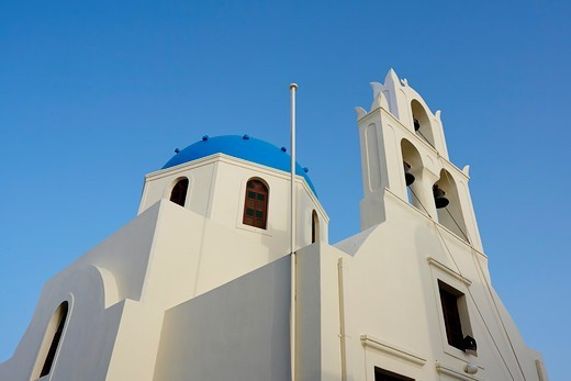 Stock Photo: 1916-7887 Low angle view of a church in Oia, Santorini, Greece