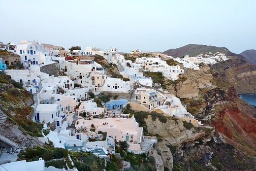 Stock Photo: 1916-7889 Sunset view of Oia, Santorini, Greece