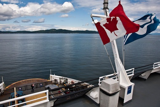 Views of Strait of Georgia and Gulf Islands from the exterior of a BC Ferry. British Columbia, Canada : Stock Photo