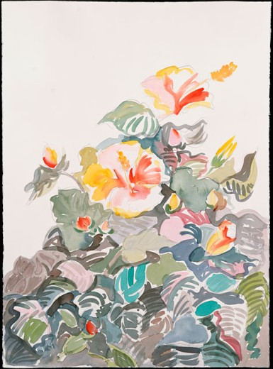 Flowers in Bloom Diana Ong (b.1940 Chinese-American) Watercolor : Stock Photo