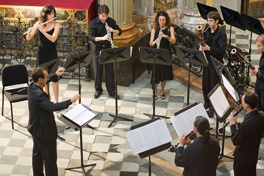 Classical music ensemble performing in San Luis de los Franceses church  Seville  Spain : Stock Photo