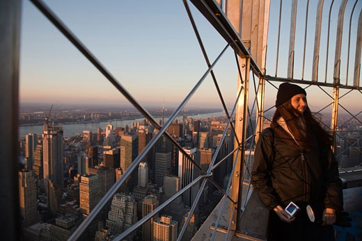 Visitor at the top of the Empire State Building  NYC  USA : Stock Photo