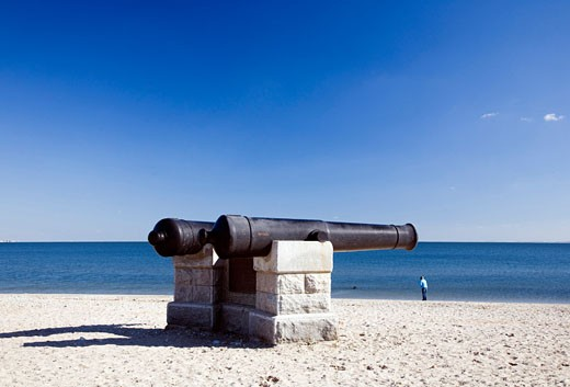 Cannons at Compo Beach  CT  USA : Stock Photo