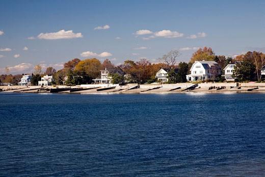 Houses by the sea near Compo Beach  CT  USA : Stock Photo