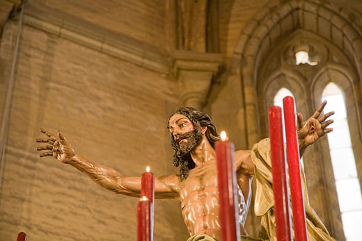 Stock Photo: 1925-1429 Resurrection of Christ  carving by Francisco Buiza 1973  Santa Marina church  Seville  Spain
