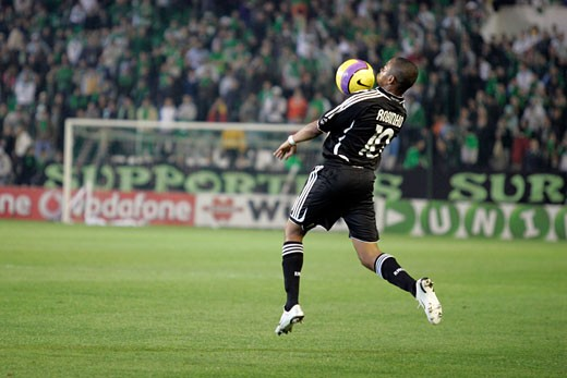 Stock Photo: 1925-1498 Robinho controlling the ball with his chest Taken at Ruiz de Lopera stadium Seville  Spain on 11 January 2007 during the Spanish Cup game between Real Betis and Real Madrid The final score was 0 0