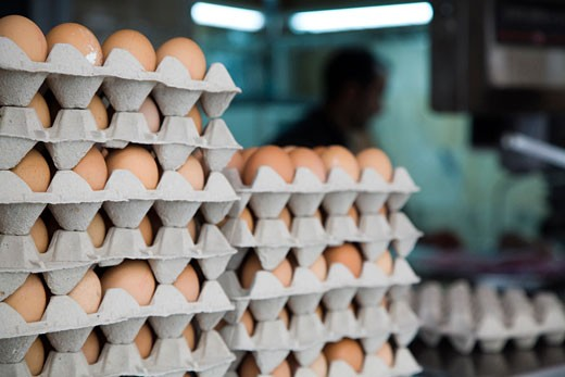 Stock Photo: 1925-1505 Stack of egg boxes in a grocery  Seville  Spain