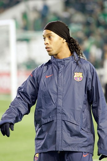 Ronaldinho warming up Taken at Ruiz de Lopera stadium Seville  Spain  during the Spanish Liga game between Real Betis and FC Barcelona which took place on 24 January 2007 The final score was 1 1 : Stock Photo
