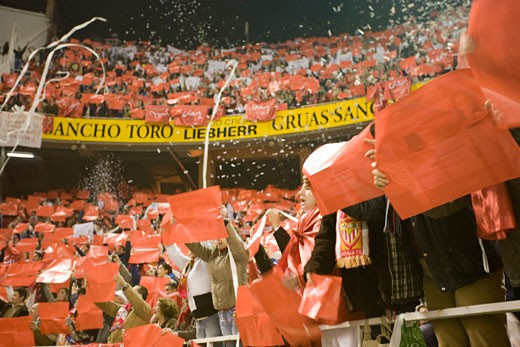 Sevilla FC fans taking part in a tifo Taken at Sanchez Pizjuan stadium Seville  Spain  on 1 February 2007  during the local derby between Sevilla FC and Real Betis : Stock Photo