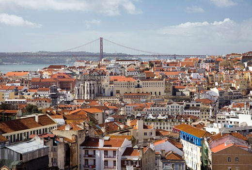 View of Lisbon from Graca viewpoint or miradouro da Graca : Stock Photo