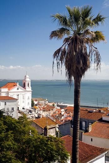 Stock Photo: 1925-1685 View of Lisbon from Santa Luzia viewpoint  Portugal Santo Estevao church on the left