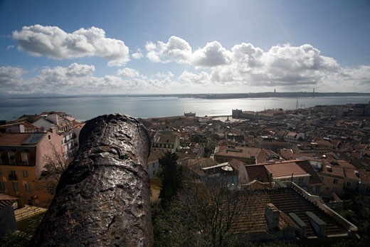 View of Lisbon and the Tagus river from Saint George castle : Stock Photo