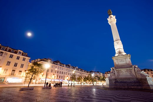 Stock Photo: 1925-1732 Rossio square by night  Lisbon