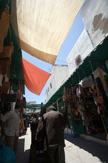 Stock Photo: 1925-1849 Shaded souk with canopies  Tetouan medina  Morocco