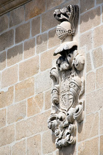 Stock Photo: 1925-1963 Coat of arms on the wall of Santa Maria church  Brozas  Caceres  Spain