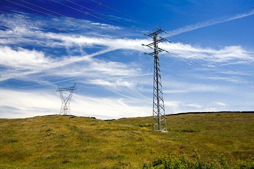 Power lines in the contryside  province of Caceres  Spain : Stock Photo
