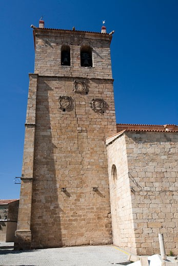 Stock Photo: 1925-1986 Bell tower of San Pedro church  Garrovillas  Caceres  Spain