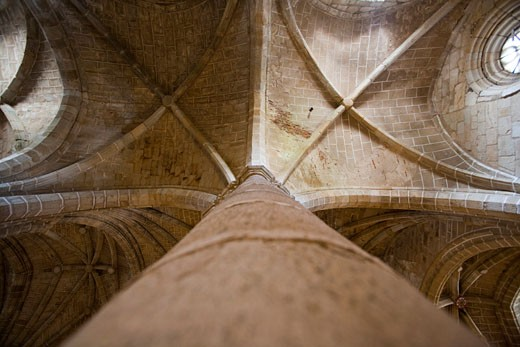 Gothic ceilings of San Pedro church  Garrovillas  Caceres  Spain : Stock Photo