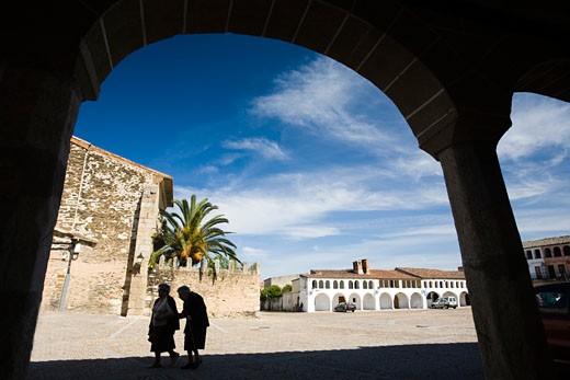Plaza Mayor or main square  Garrovillas de Alconetar  Caceres  Extremadura  Spain : Stock Photo