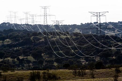 High voltage power lines from Alcantara dam  province of Caceres  autonomous community of Extremadura  southwestern Spain : Stock Photo