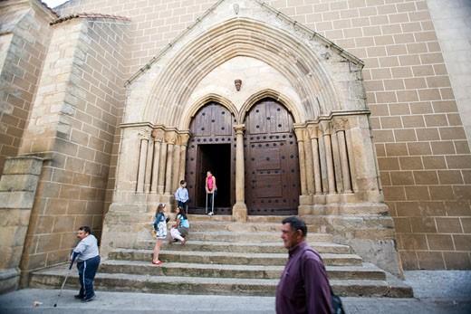 Stock Photo: 1925-2040 Gothic facade of Encarnacion church  town of Valencia de Alcantara  province of Caceres  autonomous community of Extremadura  southwestern Spain