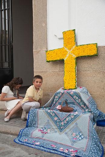 Stock Photo: 1925-2052 Cruz de Mayo May Cross  town of Valencia de Alcantara  province of Caceres  autonomous community of Extremadura  southwestern Spain