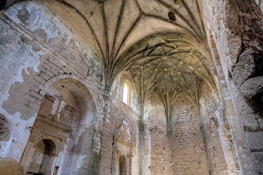 Stock Photo: 1925-2108 Gothic vaults of the abandoned convent of San Antonio de Padua  Garrovillas  Caceres  Extremadura  Spain