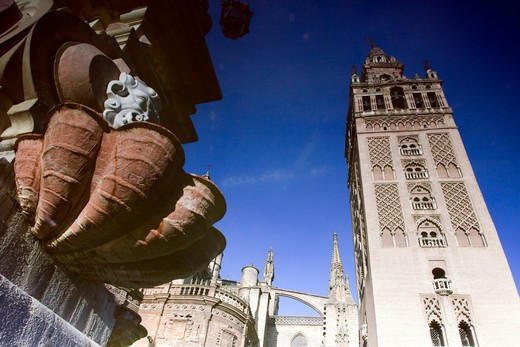 Bell tower reflected on the fountain, La Giralda, Plaza Virgen De los Reyes, Seville, Andalusia, Spain : Stock Photo
