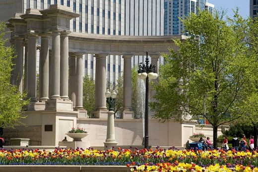 Stock Photo: 1927-1651 Millennium Monument in Millenium Park is a replica of the Peristyle that originally stood on the same sight as the orignal Chicago  Illinois