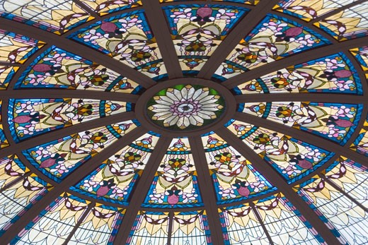 Stock Photo: 1927-1962 Art Deco glass ceiling  Empress Hotel Victoria  Canada