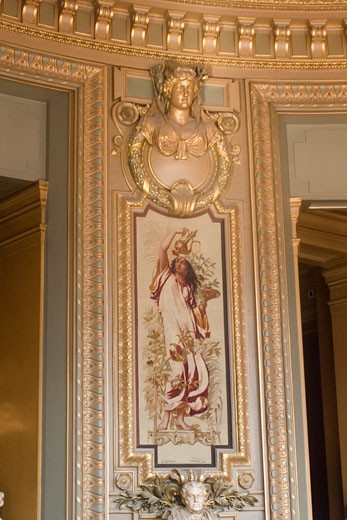 Stock Photo: 1927-2890 A series of Gobelin tapestries depicting various beverages decorate the Salon du Glacier in the Paris Opera House this depicts coffee Paris France