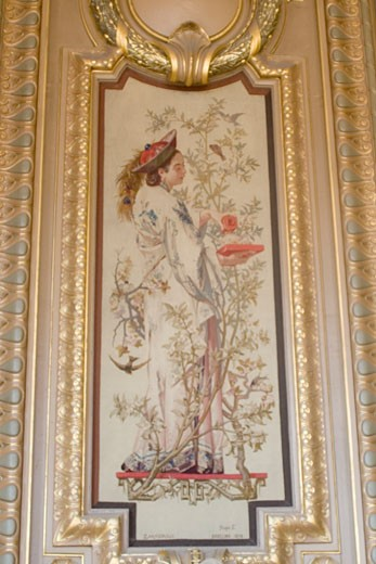 Gobelin tapestry on the wall of Salon du Glacier in the Paris Opera House Paris France : Stock Photo