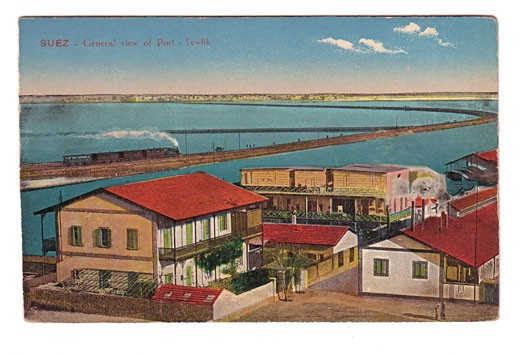 Egypt coloured postcard of the 1900s General view of Port Touwfik on the Suez Canal : Stock Photo