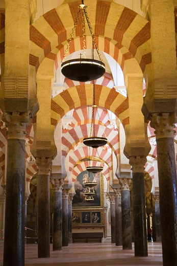 Cordoba Cordoba Province Spain Interior of La Mezquita The Great Mosque : Stock Photo