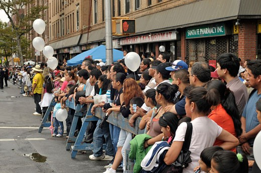 Stock Photo: 1933-1954 Jackson Heights  New York -Latinos show their pride of their origens at the anual  Queens Hispanic Parade  Sept 28  2008 The area is a bustling urban melting pot with many ethnic populations  but mainly consists of Latin Americans