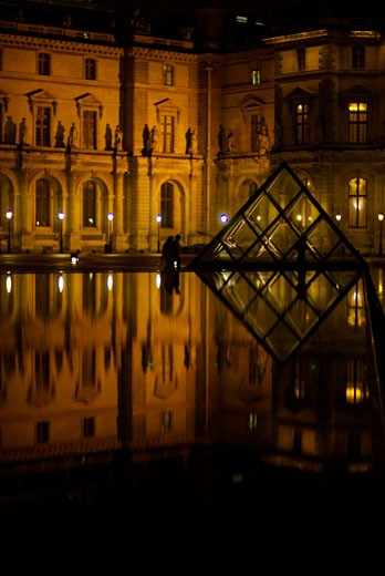 Paris France  The Louvre Museum  which became news headlines as part of the plot of The Da Vinci Code movie  Glass pyramid Pavillon Sully the Louvre Cour Napoleon : Stock Photo