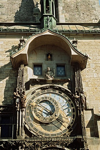 Stock Photo: 1936-1029 Astronomical clock also known as Prague Orloj on town hall tower Staromestska Radnice Prague Czech Republic