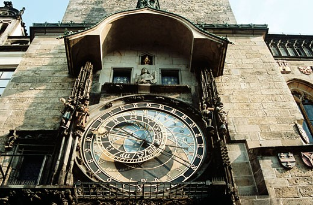 Astronomical clock also known as Prague Orloj on town hall tower Staromestska Radnice Prague Czech Republic : Stock Photo