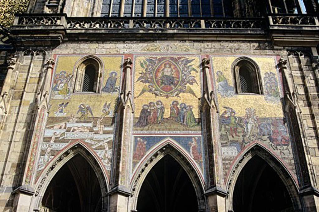 Stock Photo: 1936-1042 Last Judgement Mosaic Saint Vitus Cathedral Katedrala Svateho Vita inside Prague Castle grounds Prague Czech Republic