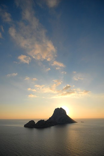 View of popular Es Vedra rock Ibiza Spain : Stock Photo