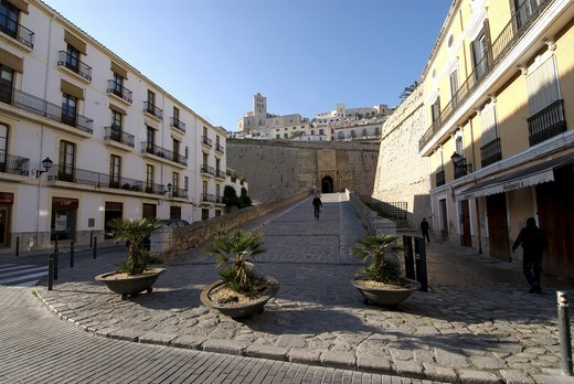 Winter scenes of Dalt Vila and La Marina area where thousands of people crowd the streets during the summer season : Stock Photo