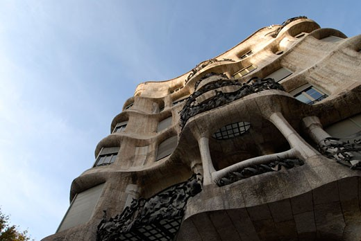 La Pedrera house designed by popular modernist architect Antoni Gaudi This emblematic building is located in commercial Paseo de Gracia avenue in Barcelona Spain : Stock Photo