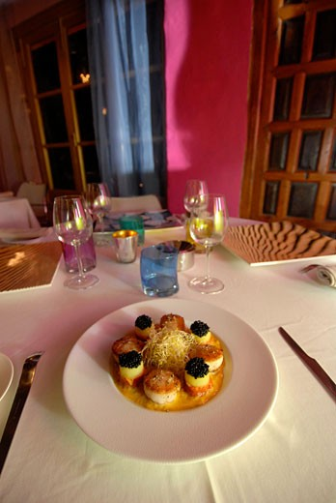 Stock Photo: 1938-1734 Tasty french cuisine plate in Can Domingo elegant restaurant Ibiza Spain