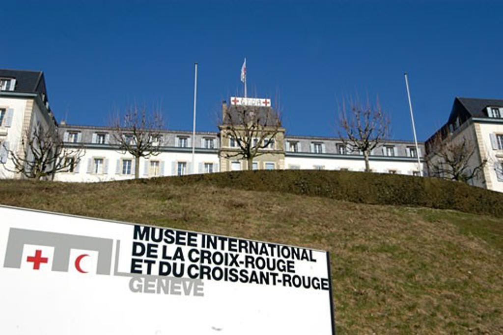 Stock Photo: 1938-1948 Croix Rouge Musee  Red Cross Museum entrance sculpture  Geneva  Switzerland