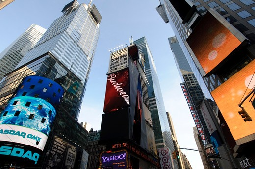 Low angle view of skyscrapers in a city, Times Square, Manhattan, New York City, New York State, USA : Stock Photo
