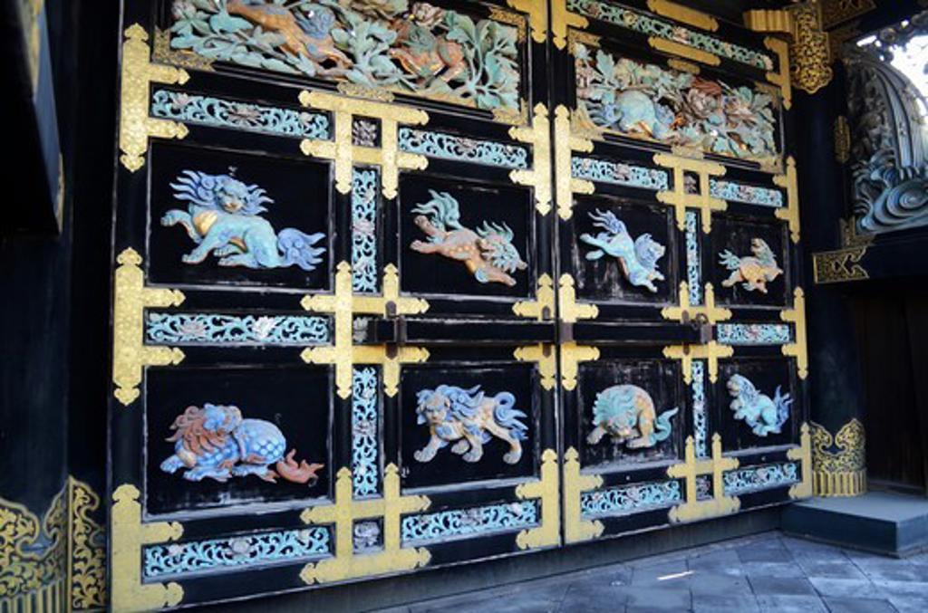Stock Photo: 1938-3390 Carving detail at Nishi Honganji Temple, Kyoto City, Honshu, Japan