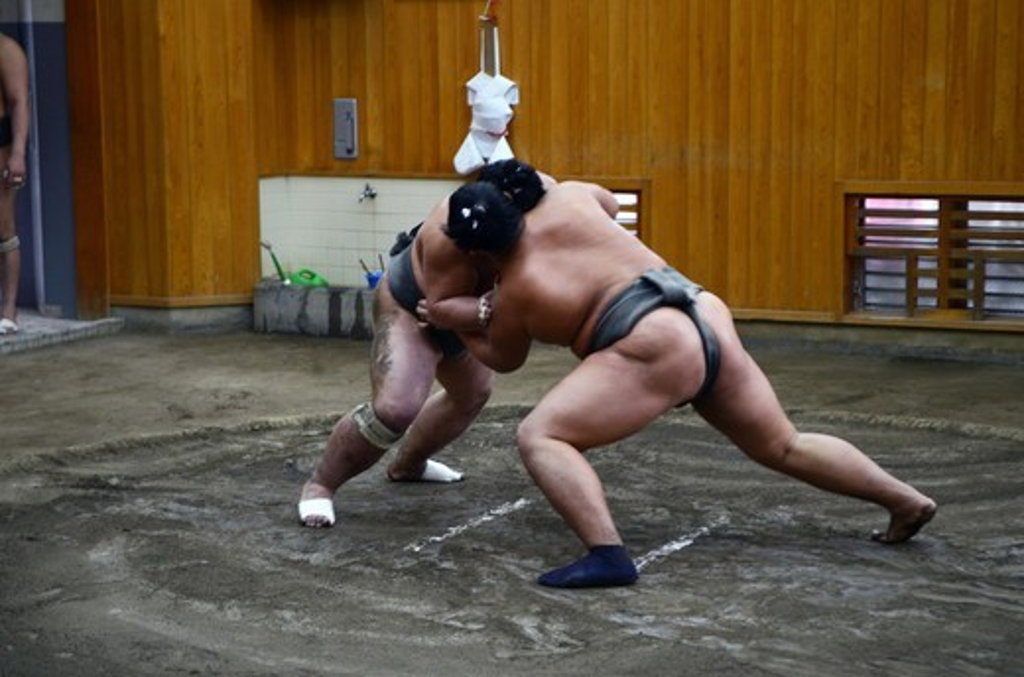 Stock Photo: 1938-3578 Japan, Tokyo, Ryogoku, Hard morning training at Sumo stable